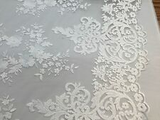White Flowers Embroider On A 2 Way Stretch Mesh Lace.wedding/Bridal/Prom Fabric.