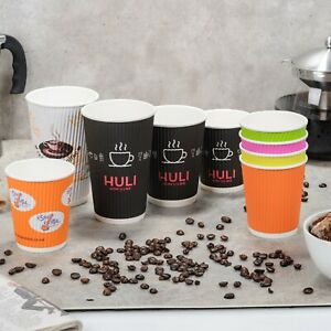 100-1000 Ripple Disposable Tea Coffee Hot Drinks Takeaway Paper Cups 8 12 16oz