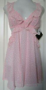 Cinema Etoile Chiffon Chemise  Size Large  Pink polka dot