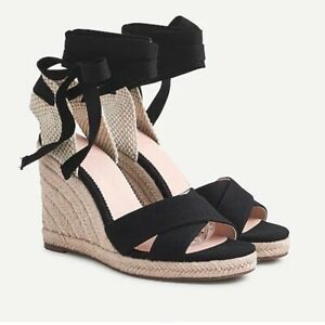 J. CREW sz 12 Sandals black lace up espadrille wedges 4 inch heel New in Box