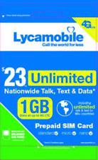 Pre Funded Lycamobile $23 Plan, 2 Months Free - 4G Unlimited Talk & Text