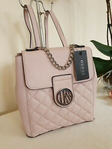 Guess Pink Faux Leather Vegan Quilted Small Backpack Rucksack Bag Handbag Nwt