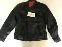 "Motorcycle Jacket Real Leather Black Armpit 19"" Lgth 24"" (662)"