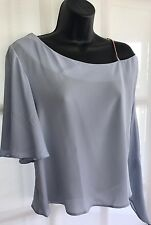 BNWT NEW LOOK 14 pale blue grey off shoulder chain strap tunic party blouse