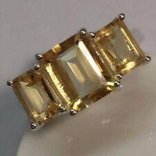 Estate Natural 8ct Golden Citrine 925 Solid Sterling Silver Emerald Cut Ring 6