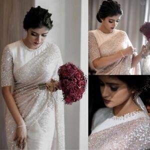 White Gorgeous Sparkle Material Sequence Pearls Designer Saree NET Sari Blouse
