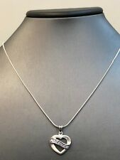"""Heart Pendant Snake Necklace 17"""" Sterling Silver 925 Clear Cz"""