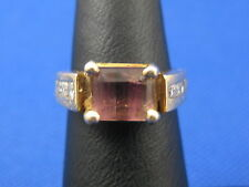 VINTAGE 14K YELLOW GOLD WATERMELON TOURMALINE RING WITH DIAMONDS SIZE 4.25