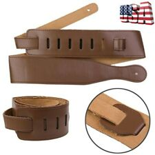 Brown Wide Soft Leather Thick Guitar Strap For Electric Acoustic Guitar Bass US