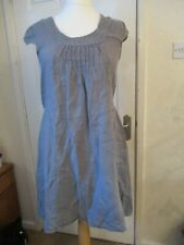 Lagenlook Made In Italy Talia Benson Grey Linen Cap Sleeve Dress Size L/UK 10-14