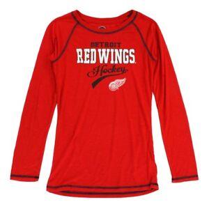 Detroit Red Wings NHL Girls Red Long Sleeve Slub T-Shirt