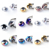 10x Electroplate Glass European Beads Large Hole Charms Faceted Craft 14~14.5mm