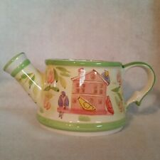 Ceramic Watering Can White w/Green Trim Birdhouse one side; Water Can on other