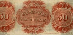 """$50 """"CANAL BANK"""" $50 (REDBACK)1800'S (NEW ORLEANS) """"CANAL BANK""""  SUPER CRISPY!!!"""