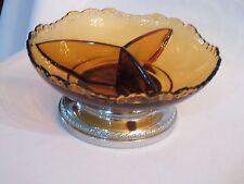 Krome Kraft Farber Bros Cambridge Amber Glass 3 Section Candy Dish Chrome Base