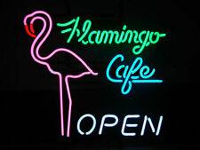 "New Flamingo Cafe Open Beer Party Light Lamp Decor Neon Sign 17""x14"""