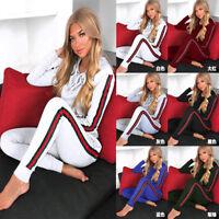 Women Crop Top Hoodie + Pants Two-piece Playsuit Bodysuit Jumpsuit Romper Set
