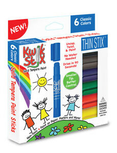Kwik Stix Thin 6 Primary Colours, No Mess or Water Paint Sticks