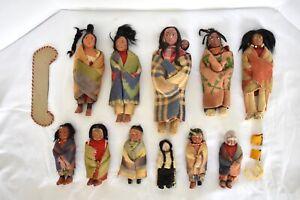 Lot Of 11 SKOOKUMS DOLLS Eleven Skookum Indian Native American Vintage Antique