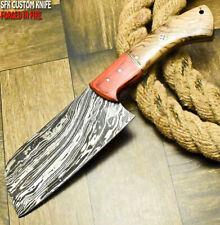 SFK CUTLERY RARE CUSTOM HANDMADE DAMASCUS ART HUNTING CLEVER CHOPPER CHEF KNIFE