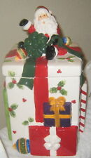 CHRISTMAS COOKIE JAR WITH SANTA ON TOP FOR HOLIDAY COOKIES AND TREATS