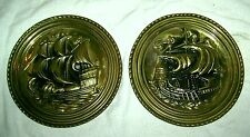 """Set of Two 8"""" Pressed Metal Plates Made In England with Ships On Them! Nautical"""