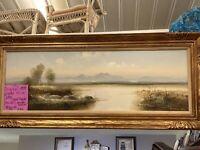 VTG Josef Kugler Oil On Canvas Painting Huge Signed Framed Water Trees Mountains