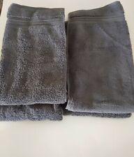 "New Fieldcrest Hand Towels Grey Set Of 4 100% Cotton 16"" X 30"""