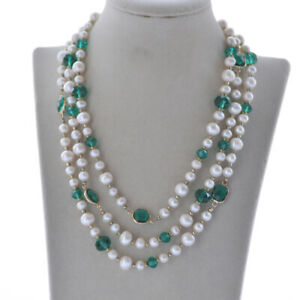 """Z10433 50"""" Faceted Green Crystal White Round Freshwater Pearl Necklace"""