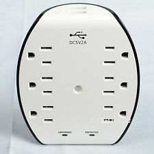 Daul Usb Wall Charger 1 to 6 Outlet Socket Adapter Wall Mount Surge Protector
