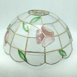 Easy Fit Ceiling Lamp Shade Dome Shape Red Flowers Green Leaves Golden Frame