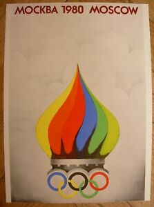 Soviet Sport POSTER Olympiad-1980 MOSOW by Maleev Olympic rainbow