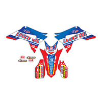 2017 - 2018 HONDA CRF 450R GRAPHICS KIT CRF450R LUCAS OIL : RED / BLUE DECALS