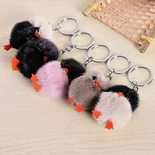 Clever Chick Fluffy Fur Pendant Key Chain Plush Keyring Key Buckle Handbag Decor