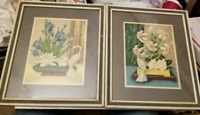 Pair Vintage Art Deco 13x11 Prints floral w bird figurine