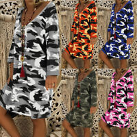 UK Women Long Sleeve Casual Camouflage Printed Mini Dress Cocktail Party Dresses