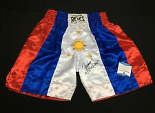"""Manny Pacquiao Signed Cleto Reyes:Philippines Boxing Trunks """"Pacman"""" BAS S07928"""