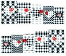 Nail Art Decals Transfers Stickers Checkerboard Pattern Love (A-127)