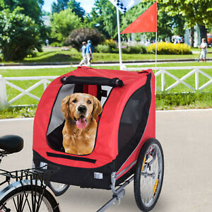 Pet Bike Trailer Dog Cat Carrier Foldable Red