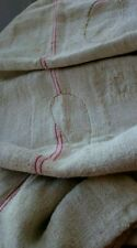 Antique vintage GRAIN SACK feedsack RED striped   hemp linen GRAINSACK