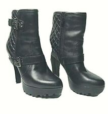 GUESS  Black Leather Ankle Boots Size 6 M Perfect Condition !