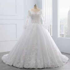 2018 Long Sleeve Wedding Dress Lace Applique Beading Pearl Bridal Gown custom
