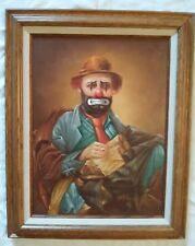 "HOPPIN Signed Original Oil Painting SAD CLOWN HOBO Oak Frame  21"" x  16"""