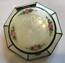 VINTAGE ANTIQUE GUILLOCHE WHITE PINK AND GREEN ENAMEL COMPACT