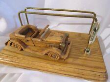 Vintage Rare Oak Car Men's Wood Dressor Vallet Wallet Storage Desk Pen Holder