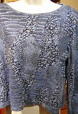 Nikky Sports Women's Blue Patterned Top with Sequins Large