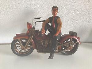 Motorradmodell Harley Davidson Deko Standmodell Fahrer ca. 35 cm hoch 46 cm lang