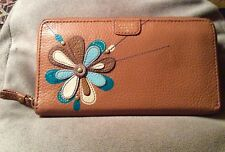 Fossil Mimi Floral Patchwork Zip-Around Clutch Leather Wallet Preowned Wonderful