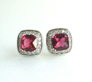 Women White Gold Plated Ruby Red CZ Cubic Zirconia Prime Luxury Stud Earrings UK