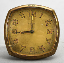 Small Vintage Art Deco Swiss Easel Back 8 Days Brass Clock by Octo Watch - as is